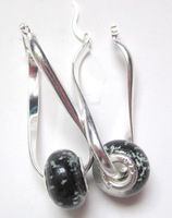 Min order 10 usd ! Free Shipping!  925 silver Black  style  Lampwork beads style jewelry Earring PE10  wholesale price jewelry