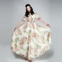 2014 original design chiffon Casual Dress loose expansion skirt lyq163  dots stripes Geometry maxi print print novelty