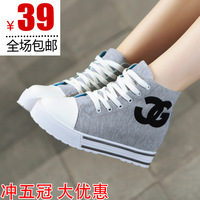 free shipping  female shoes  canvas shoes platform high heel wedges single shoes
