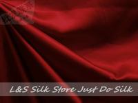 Free shipping/free epacket/100% silk fabric /plain dyed/wine red/silk dress fabric/silk bedding/ #LS0744-3