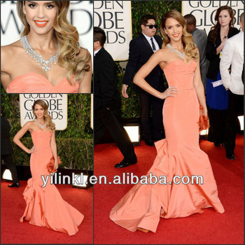 Jessica Alba Coral Color Mermaid Style Taffeta 2013 New Fashion Celebrity Red Carpet Dress