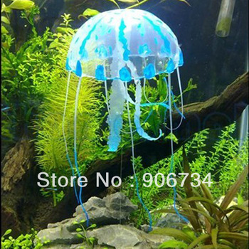 Fashion Lovely Blue Jellyfish for Aquarium Fish Tank Ornament Swim Pool Bath Decor Free Shipping