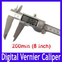 EMS Free shipping LCD stainless stell 8 inch (200mm) digital vernier caliper , CALIPER VERNIER GAUGE MICROMETER ,5pcs/lot