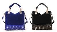new rivet package stitching flannel bag shoulder bag brand fashion handbag Free Shipping Rivet Studded Messenger Bag