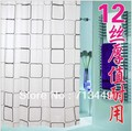 Shower curtain thickening waterproof bathroom curtain cloth fashion square grid metal buckle 180cmx180cm(China (Mainland))