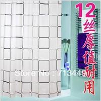 Shower curtain thickening waterproof bathroom curtain cloth fashion square grid metal buckle 180cmx180cm