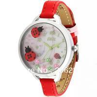 MNS817 MIN watch double layer glass 3D ladybug watch DIY  Handmade Genuine Leather Quartz Ladies watch 1pc+free shipping