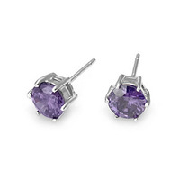 6mm purple zircon 925 pure silver stud earring zhaohao anti-allergic