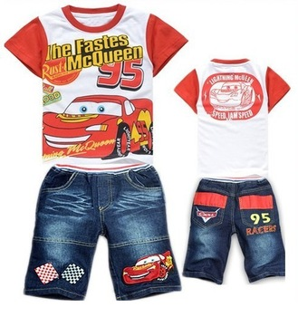 2013 new arrive baby boys summer suit cartoon tee denim short kids clothing set fit 2-7yrs 6sets/lot free shipping 1380