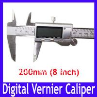 EMS Free shipping 200mm (8 inch) all metal stainless steeel LCD Digital Vernier Caliper, VERNIER GAUGE MICROMETER ,10pcs/lot