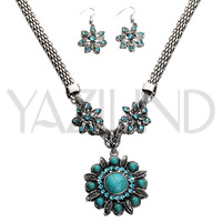 High quality charming turquoise with crystal Jewelry Sets Necklace/Earing Sets Jewelry wholesale factory price/Free shipping