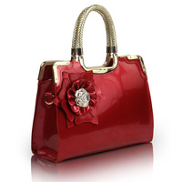 2012 elegant fashion normic handbag shoulder bag japanned leather red bridal bag