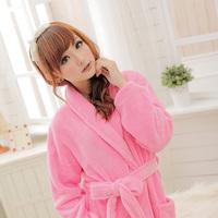 thickening coral fleece bath robe sleepwear ladies' lounge thermal night robes women night-gown warm nightwear bathrobes