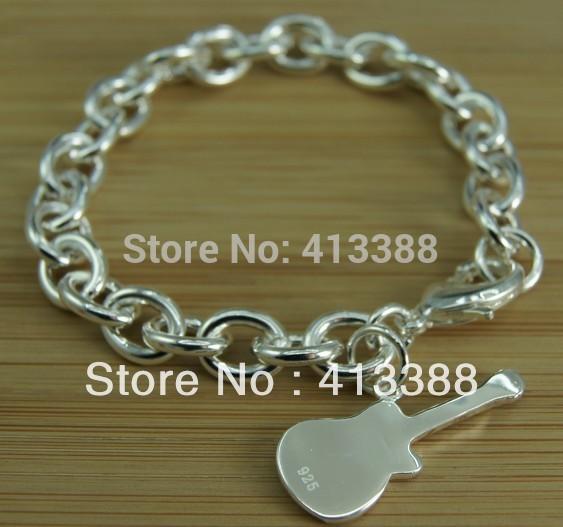 Free Shipping Latest Arrivals Fashion Design Women Charm Bracelet Silver 925 Guitar Bracelets Bangles Piercing Jewelry BR1230(China (Mainland))