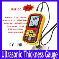 Free shipping Ultrasonic Thickness Gauge GM100 ,Measuring Range:1.2-225.0mm(Steel),MOQ=1