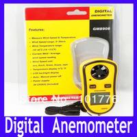 EMS Free Shipping Digital Anemometer, Mini Digital handheld wind speed meter scale Anemometer Thermometer GM8908,10pcs/lot