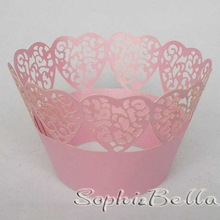 W002F  72 PCS  Pink  hearts  cupcake wrappers KKKKK(China (Mainland))
