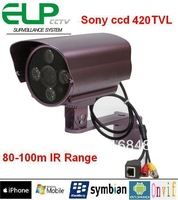 "1/3"" color Sony Super HAD CCD 420TVL Long Distance Array LED Outdoor Waterproof IP Camera with up to 100m IR range"