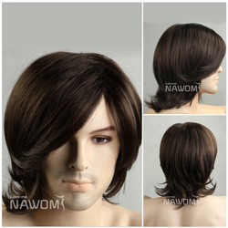 Free shipping Best-selling human synthetic wig short big wave art man oblique bangs wigs high quality 100% Japan kanekalon hair(China (Mainland))
