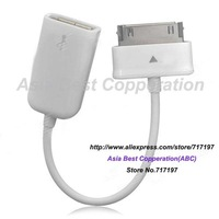 Hot sales!Free shipping,30 Pin Male to USB Female OTG Cable for Samsung Galaxy Note 10.1 GT-N8000 - White
