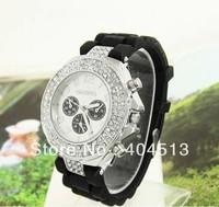 free shipping  black fashion silicone Band Crystal Watch Women quartz watch