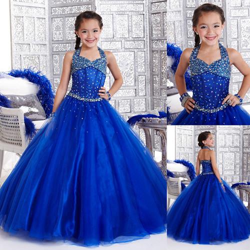 Vestido azul de niñas - Imagui