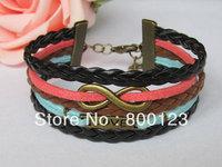 Infinity Love Bracelet-Antique Bronze Infinitywish Bracelet, Love Bracelet & Multistrand Braid Chain Bracelet