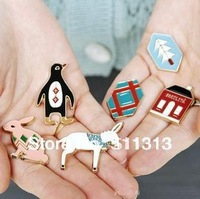 FREE SHIPPING symbol 18K gold plating fashion vintage korean style badges complete 6PCS per pack