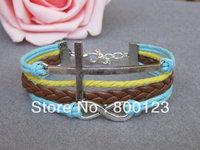 God Blessing Bracelet, Antique Silver Infinity Bracelet , silver Cross bracelet, Brown Braid Bracelet - W141