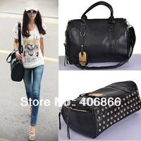 free shipping 2013 women's handbag bag fashion british style rivet messenger bag dual-use portable backpack
