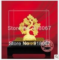 YZ-R056 24K gold craft/ Gold Handicraft/corporate gift/Feng shui Ancient  Money Tree cash cow Magic Tree HIKYUU Kylin pi xiu