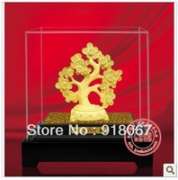 YZ-R056 24K gold craft/ Gold Handicraft/corporate gift/Feng shui Ancient  Money Tree cash cow Magic Tree HIKYUU Kylin pi xiu