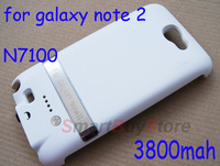 3800mAh white High Capacity External Backup Battery Case for Samsung Galaxy Note 2 II N7100, free shipping