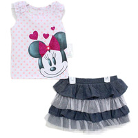 New arrive Little  Girls 2pcs  outfits  Minnie mouse  tshirt     pantskirts  2pcs suits