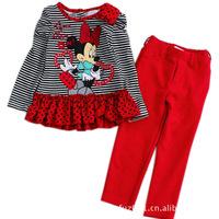 New arrive Girls 2pcs  outfits  Minnie mouse DORA  tshirt pants 2pcs suits