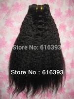 Straight Hair #1100% Virgin Peruvian Human  Hair Extension Kinky Straight  Weft--kinky straight weave