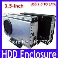 EMS Free shipping HDD Enclosure,3.5inch standard USB2.0 SATA Mobile disk,Aluminum alloy Hard Drive Case,2pcs/lot