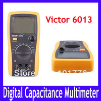 Free shipping LCD VICTOR 6013 3 1/2 Capacitance Meter Buzzer alarm, data hold, Diode and Transistor test function, MOQ=1