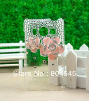Camellia Rhinestone Bling Clear Hard Back Cover CASE for HTC EVO 4G Pink HT01