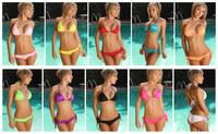 Sexy 10 Colors Triangle Halter Tie Top + Bottom Bikini Set Beachwear Free Shipping @wm3048