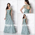 13369 customer made Plus size lace cap sleeves mother of the bride beach wedding dress 2013