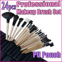 24PCS  Facial Makeup Powder Brush Set Professional Cosmetic Accessories + Black Pouch Bag wholesale