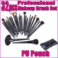 4 sets/lot, Prefessional 32 32pcs Mixed Size H4456 Facial Makeup Brushes Make up Tools set + Black Leather Bag , Free shipping
