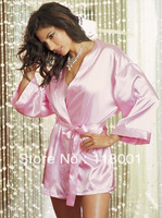 free shipping pink satin sexy  nightgown and robe
