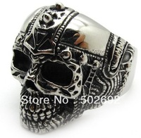 wholesale China Top quality men jewelry silver knight skull finger ring called biker party ring in stainless steel free shipping