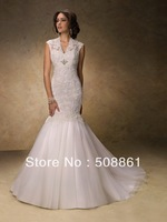 Charming trumpet white lace wedding dresses for bride 2013
