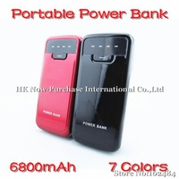 6800mAh Portable Mobile Charger Power Bank 7 Colors  For iPhone 4s Samsung Galaxy S4 Free Shipping