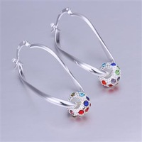 Lose money Promotion! Wholesale 925 silver earrings, 925 silver fashion jewelry, inlaid Color Crystal Earrings E245