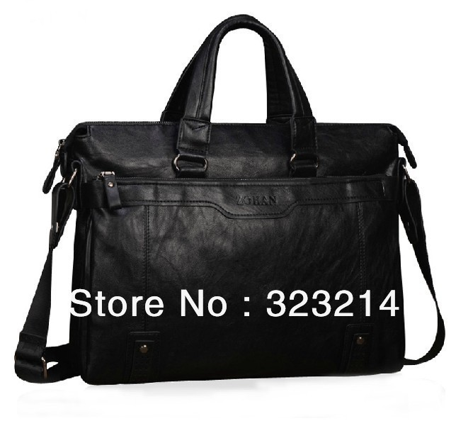 Free shipping PU leather handbag portfolio man business cases bag great deal laptop(China (Mainland))