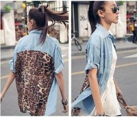 Vintage Leopard Women Sexy Button Shirt Blouse Retro style Denim Chiffon Tops
